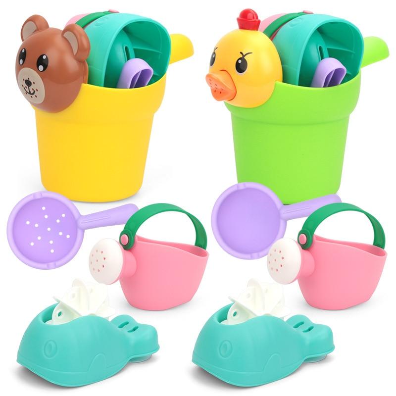 4pcs/set Children Beach Toys Soft Rubber Sandbox Play Bathroom Kids Sand Game Toy Safe Children Toddler Bathing Tub Water Toys