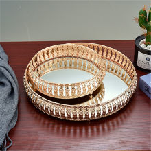 Plateau miroir en verre de fer Vintage, plateau décoratif de bureau à domicile, assiette de rangement pour bijoux de fruits et cosmétiques