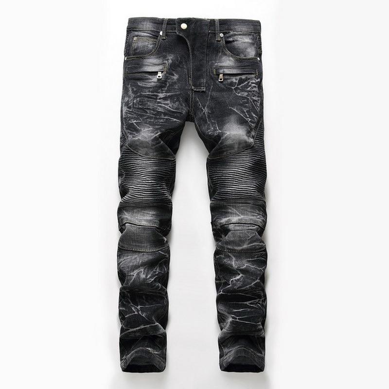Denim Designer For Men'S Bike Moto Jeans Stretch Straight OverSize 28-38 40 42 2020 Spring Sutumn Winter HIP HOP Punk Streetwear