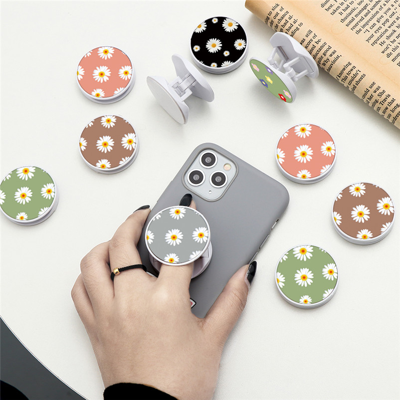 Flower Florals Expanding Phone Stand Grip Finger Ring Support Anti-Fall Round Foldable Bracket Mobile Phone Holder For IPhone