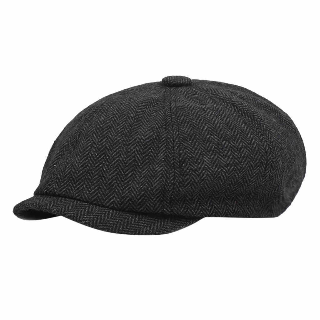 BlackHerringbone Newsboy Baker erkek Tweed düz kap erkek Gatsby şapka