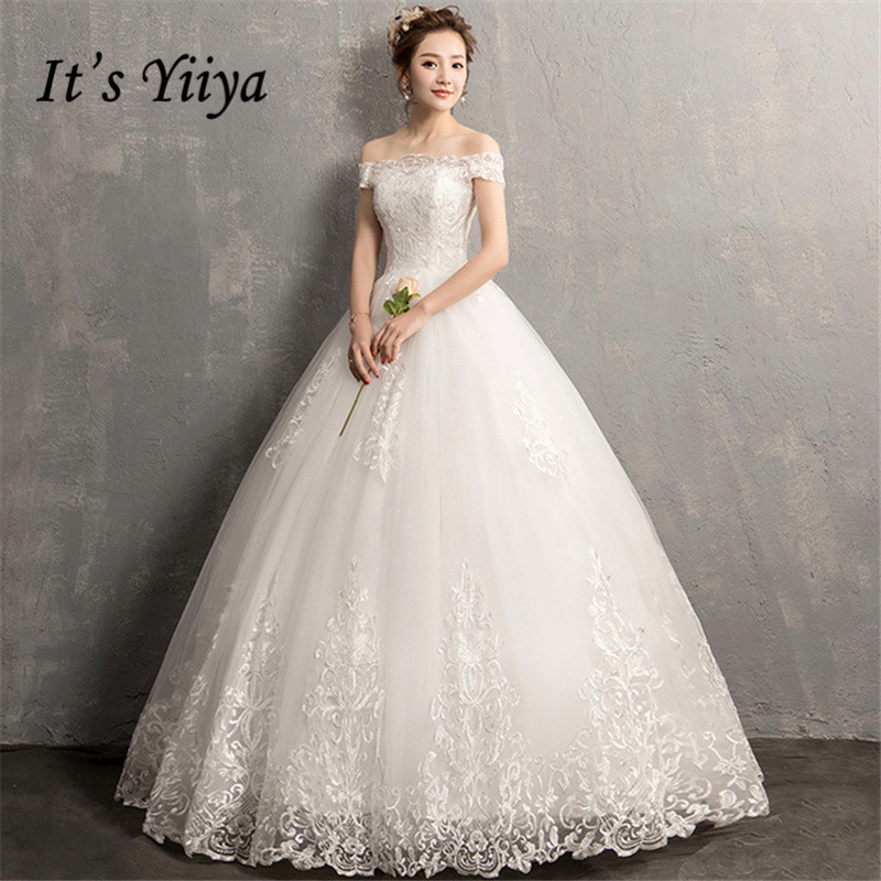 It's YiiYa Wedding Dresses 2019 Simple Boat Neck Embroidery Lace Up Floor-length Elegant Bridal Gowns De Novia Casamento AL012