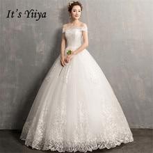 Its YiiYa Wedding Dresses 2019 Simple Boat Neck Embroidery Lace Up Floor length Elegant Bridal Gowns De Novia Casamento AL012
