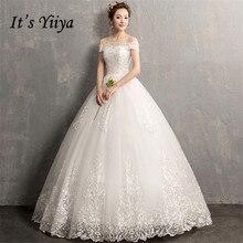 זה YiiYa חתונה שמלות 2019 פשוט סירת צוואר רקמת תחרה עד לקיר אורך אלגנטי כלה שמלות דה Novia casamento AL012