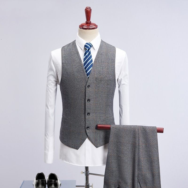Gray Tweed Piece Business Suits Plaid Men Wedding Suits 2020 Slim Fit Groom Mens 3 Piece Suit Elegant Male Costume Mariage Homme