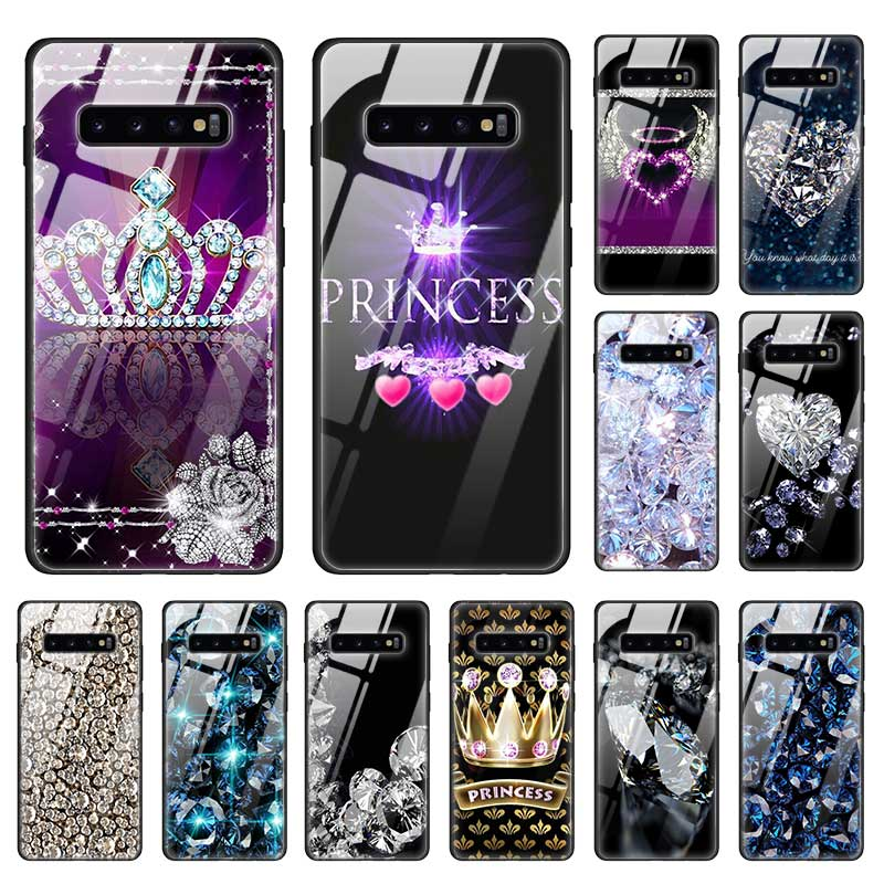 Diamond Crown Printing Case for Samsung Galaxy S20 A50 S10 e S9 S8 Note 10 Plus 5G 9 Tempered Glass + Black Soft Phone Coque A70(China)
