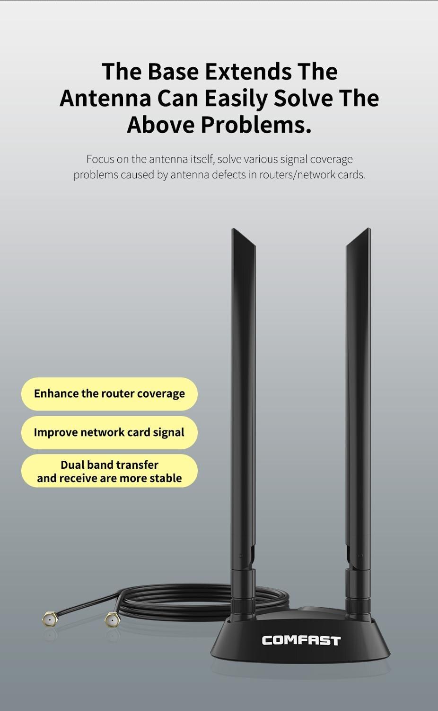 Мощный с высоким коэффициентом усиления 2 * 6dbi Dual Band 2,4 + Wi-Fi 5 ГГц 360 ° SMA Всенаправленная 1,2 м удлинитель основание антенны для Беспроводной мар...