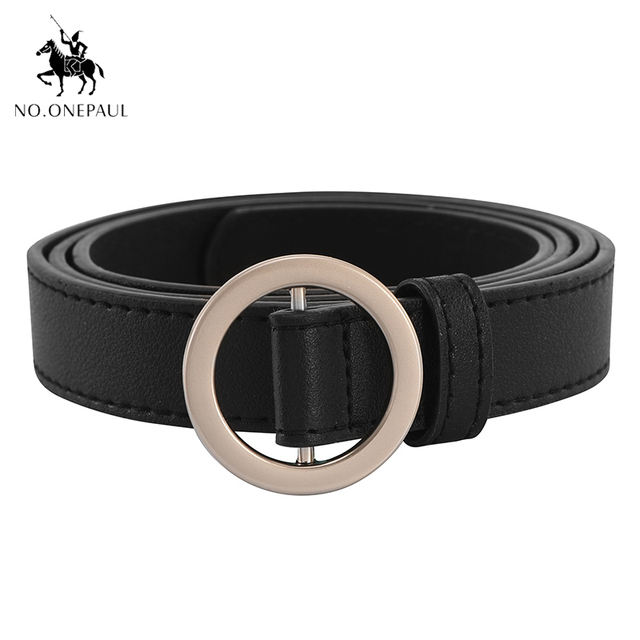NO.ONEPAUL Circle Pin Buckles Belt female deduction side gold buckle jeans wild belts for women fashion students simple New 1