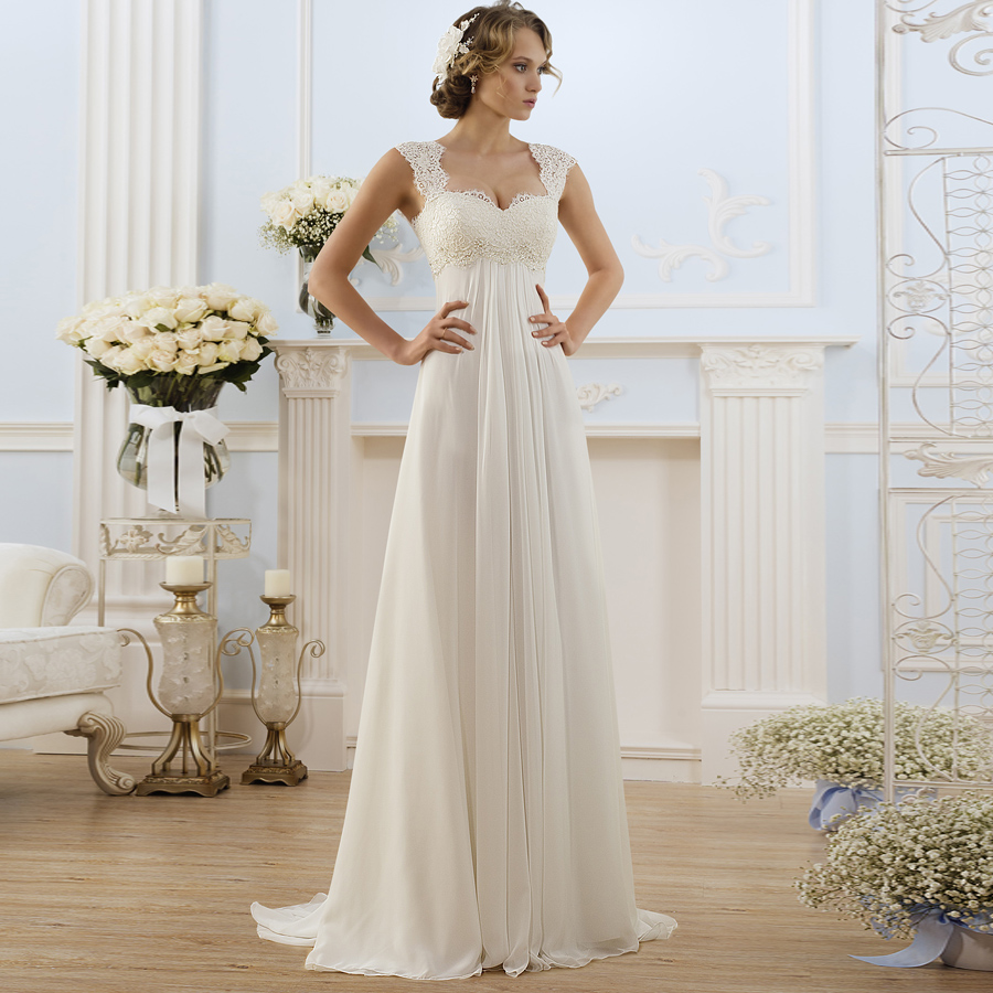 Cheap Beach Wedding Dresses Plus Size Cap Sleeve Applique Chiffon Boho Bridal Wedding Gown Vestido De Novia