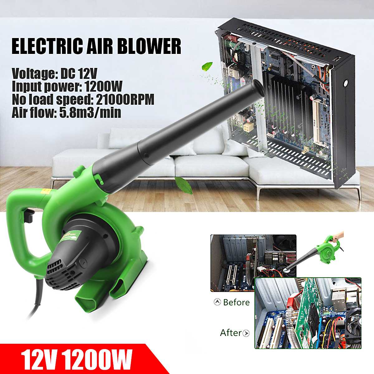 1200W Electric Portable Electric Blower Air Blower Handheld Garden Leaf Collector Air Blowing Dust Leaf Collecting Machine