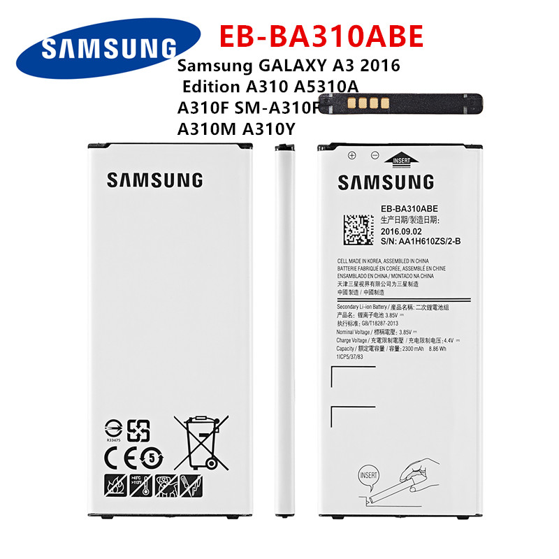 SAMSUNG Orginal EB-BA310ABE 2300mAh Battery For Samsung GALAXY A3 2016  Edition A310 A5310A  A310F SM-A310F A310M A310Y