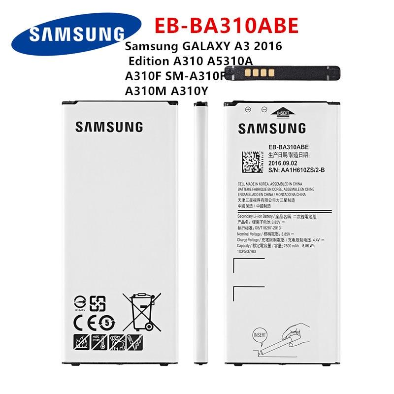 SAMSUNG Orginal EB-BA310ABE 2300mAh Battery For Samsung GALAXY A3 2016  Edition A310 A5310A  A310F SM-A310F A310M A310Y