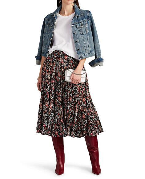Vintage Paisley Print Midi Pleated Skirt Elastic Waistband Ruffles Hem High quality Skirts Long Woman-in Skirts from Women's Clothing    1