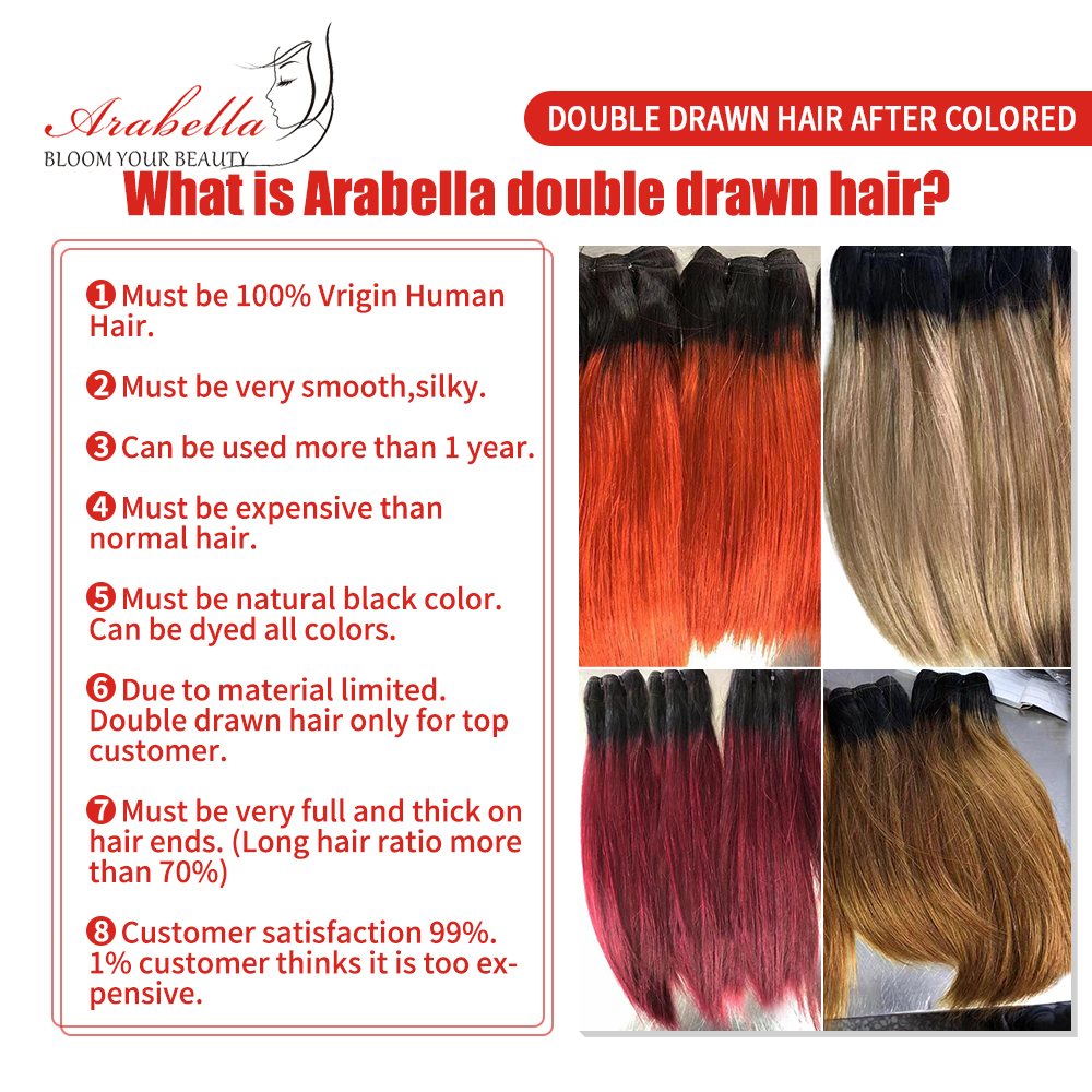 Super Double Drawn Hair Bundles With Closure PrePlucked Bleached Knots Arabella Virgin Hair  With 4*4 Double Drawn Closure 4