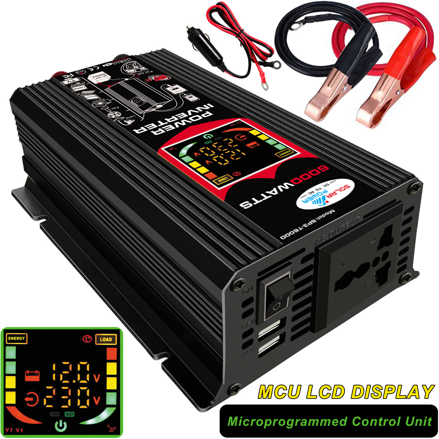 6000W Dual USB Smart Display Car Power Inverter Converter Adapter 12V To 220V/110V Voltage Transformer Modified Sine Wave
