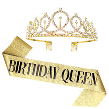 Цвета: золотистый, серебристый блеск лента для дня рождения Стразы тиара 18th Хрустальная корона на день рождения Queen атласной лентой на поясе...