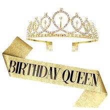 Ceinture d'anniversaire à paillettes or argent, diadème en strass, 18ème couronne en cristal, reine d'anniversaire, ruban en Satin, pour décor de fête d'anniversaire