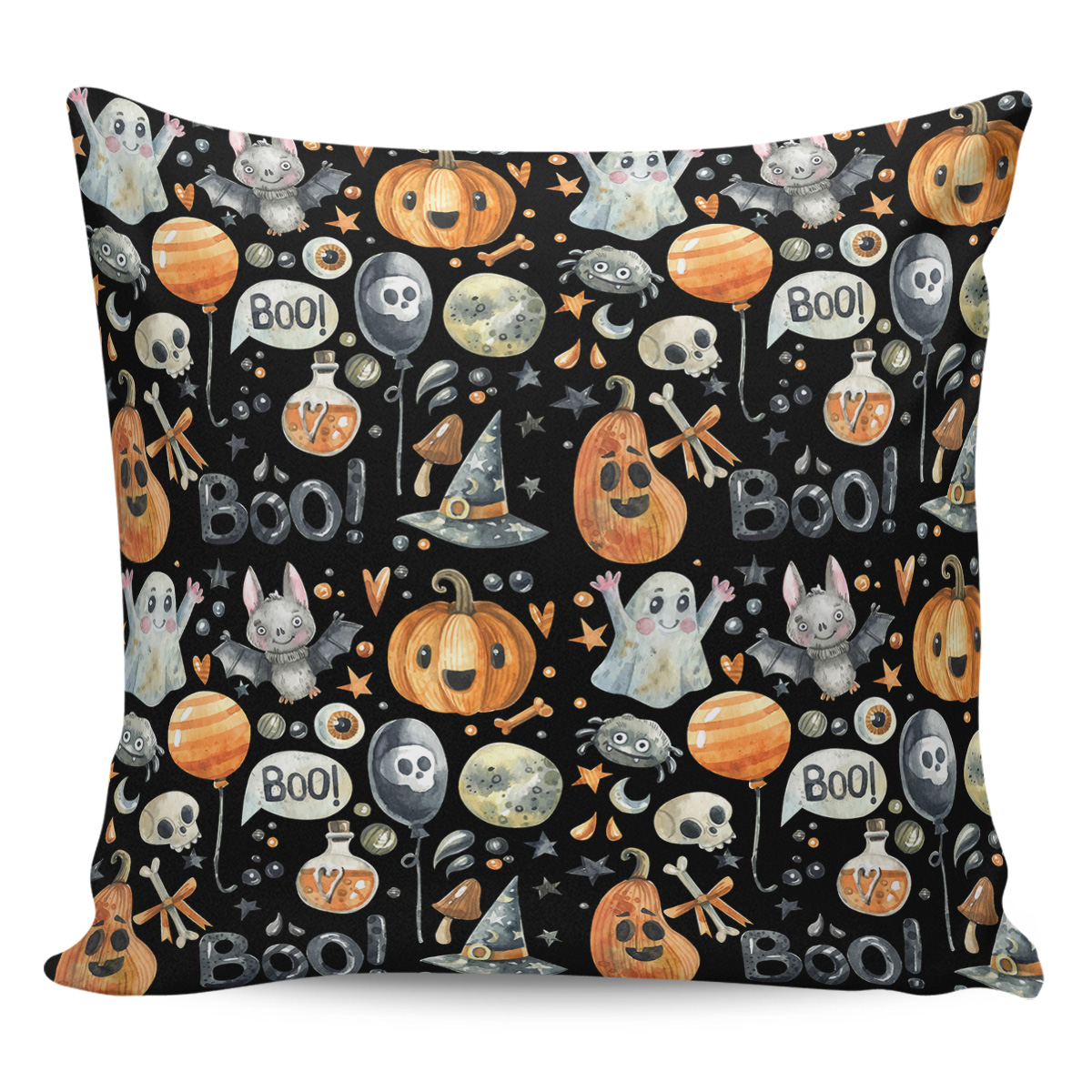 Halloween Pumpkin Ghost Skull Head  Horror Night Pillow Covers Cases Pattern Cover Cushion Pillowcase Square Print|Pillow Case| |  -