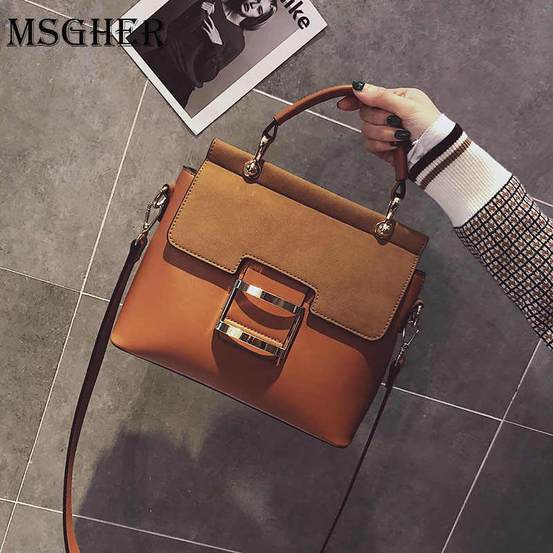 نساء بولي PU حقائب يد جلدية سعة كبيرة موضة مصمم العلامة التجارية الأم مشبك حلقة حقيبة الكتف Crossbody حقائب نسائية