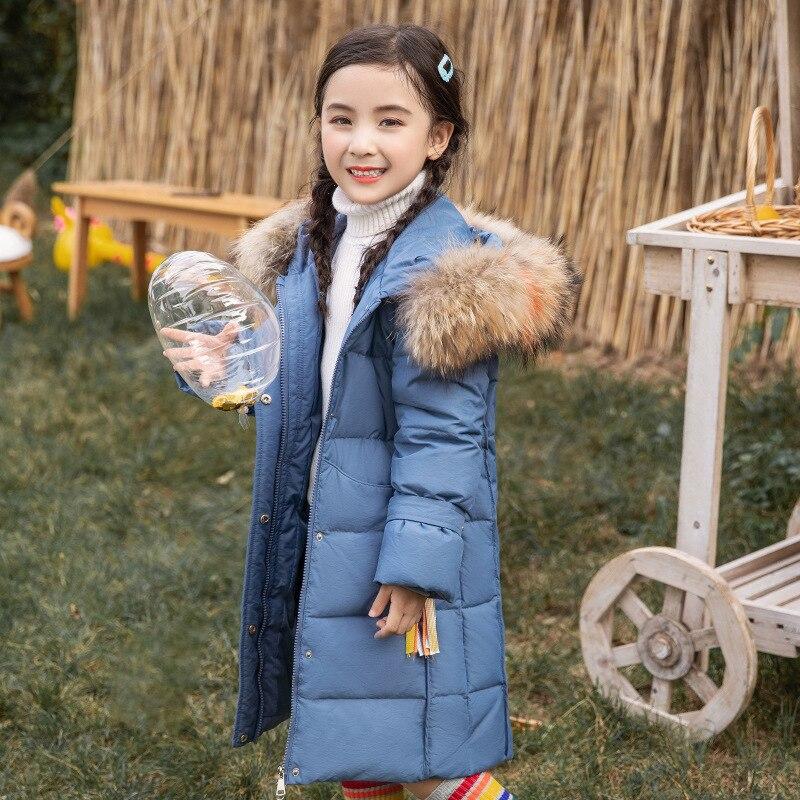 Enfants Dcuk doudoune 2019 nouvelle fille vêtements Parka réel grande fourrure à capuche Long manteau russie hiver vêtements pardessus-30 degrés