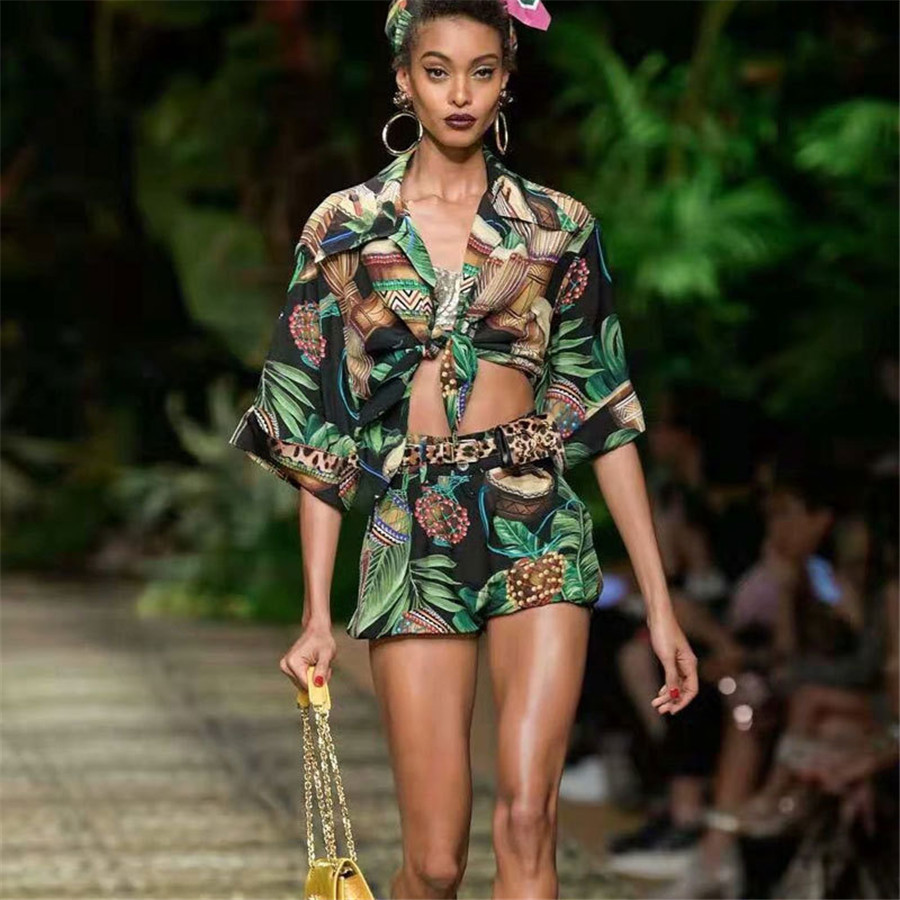 2 Piece Set Women 2020 Summer Women Sexy Blouse Shirt And Flower Pritned Shorts Women Crop Top Holiday And Vocation Sets Women