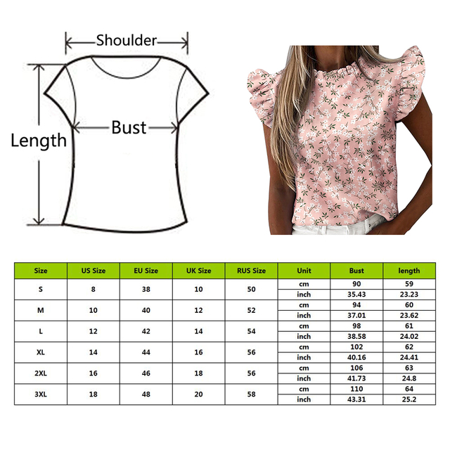 Hot Sale 2021 New Short Sleeve Round Neck Print Shirt Female Fashion Plus Size Pullover Clothes Women's Summer Ruffle Blouse 6