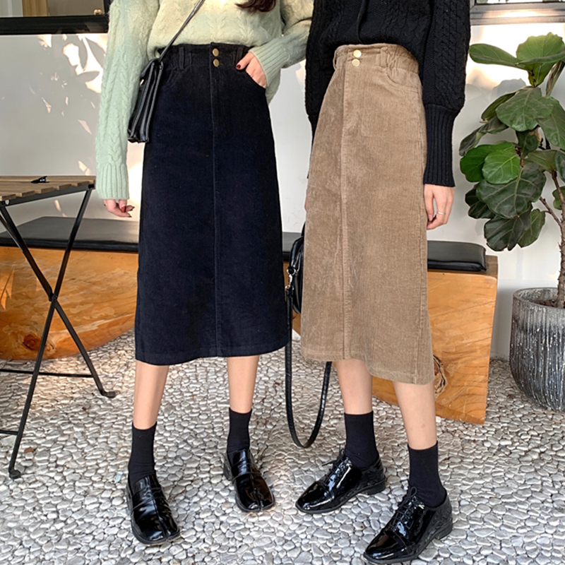 High Waist Midi Corduroy Side Slit Skirt Women A-line Loose Streetwear Skirts Female Pockets Denim Skirts 2020 Autumn Winter