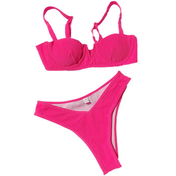 2020 New Swimsuit Women Push-up Padded Bra Bandage Bikini Set Triangle Monokini Swimwear Bathing Swimming Suit Solid Beachwear 4