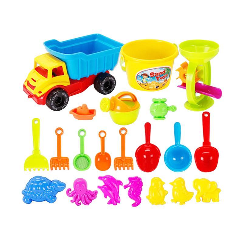 21pcs Dump Truck Beach Toys Set Sand Play Set Sandbox Toys Sand Shovel Watering Can Toys For Girls Boys