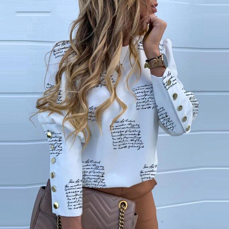 Women Blouse Long Sleeve Tops Print Buttons 2020 Spring Clothes Elegant Office Shirts 2019 Blusas Feminina