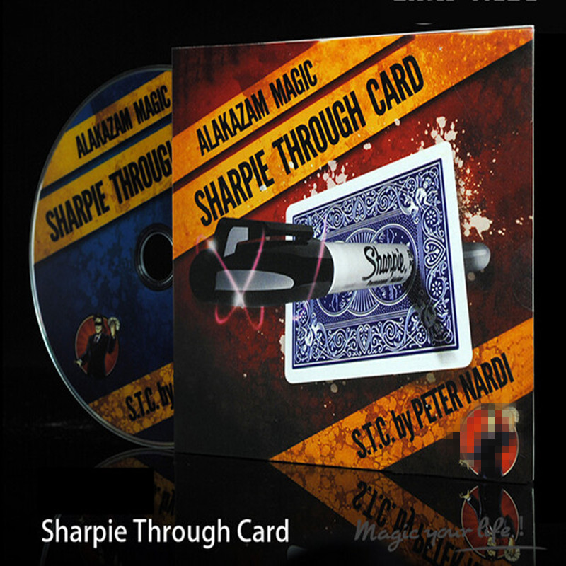 Sharpie Through Card (Gimmick Card Plus DVD) Magic Tricks Penetrate Signed Card Magia Close Up Street Gimmick Illusion Props