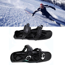 Ski Shoes Mini Winterized Skis Outdoor Adjustable Skiing Sled Portable Skates Shoes Durable For Winter Outdoor Black 2PCS