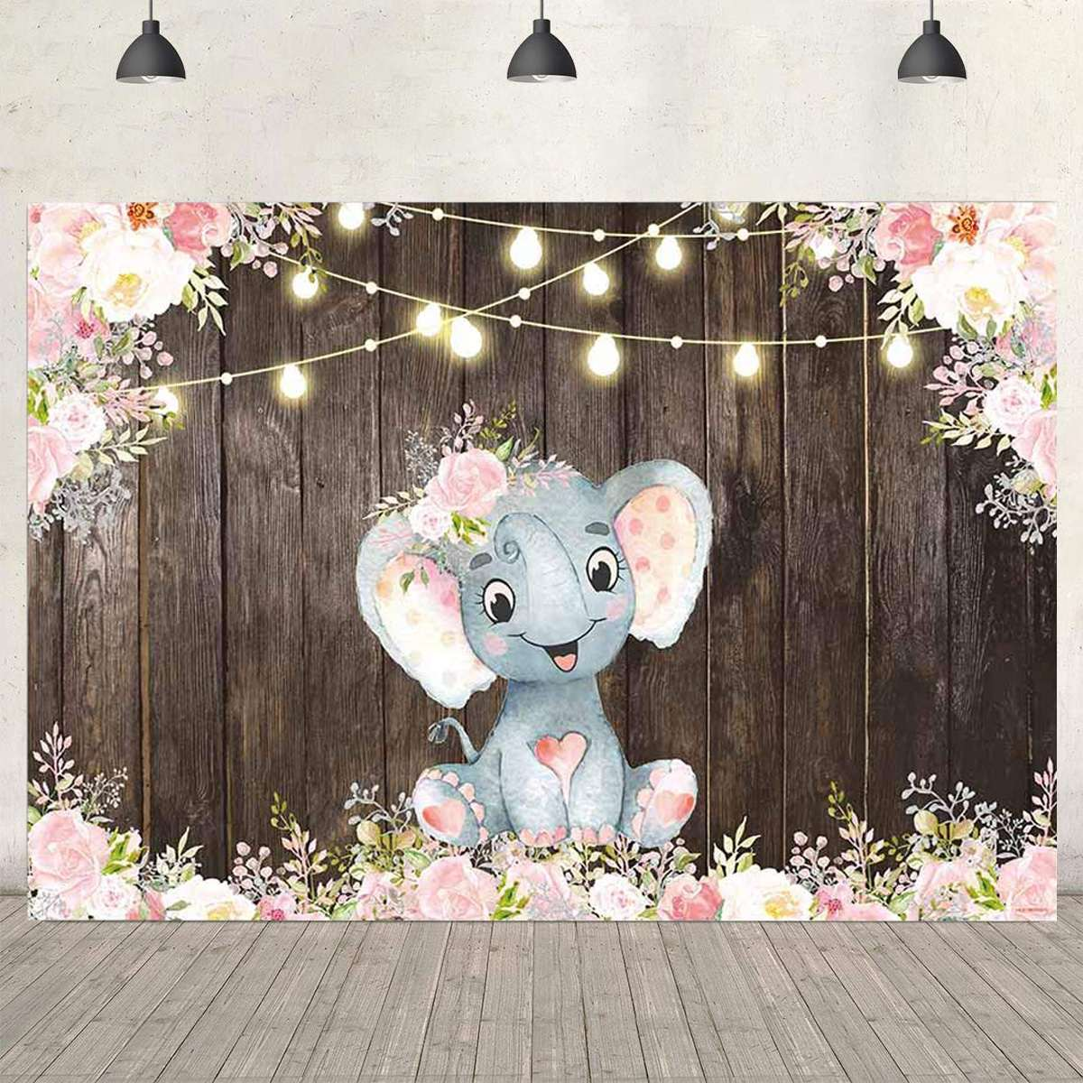 Blue Elephant Photography Backdrop Birthday Banner Party Decorations Baby Shower Cartoon Characters Photo Studio Background