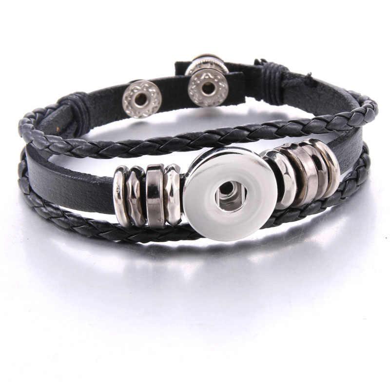 2020 nouveau bouton pression bijoux Vintage perlé en cuir noir Bracelet pression ajustement 18mm boutons pression bohême magnétique Bracelets en cuir