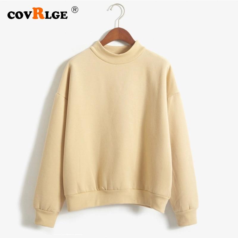 Covrlge Women's Thin Velvet Fashionable Long Sleeve Casual Sweatshirt Solid 10 Candy Colors Kawaii Sweatshirt Clothing WWW001
