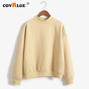 Covrlge Women's Thin Velvet Fashionable Long Sleeve Casual Sweatshirt Solid 10 Candy Colors Kawaii Sweatshirt Clothing WWW001