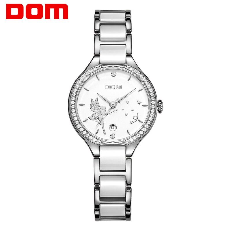 DOM Women Watches  Top Luxury Brand Ceramics Watchband Diamond Wrist Watch Fashion Dress Ladies Quartz Watch Clock G-1271D-7M2