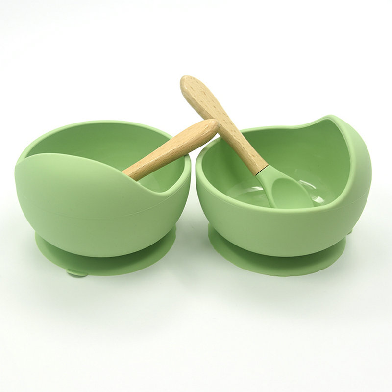 Gitua Baby Silicone Suction Bowl and Wooden Spoon Set Green Plate /& Spoon Set BPA Free Feeding Bowls Kit for Toddler Stay Put