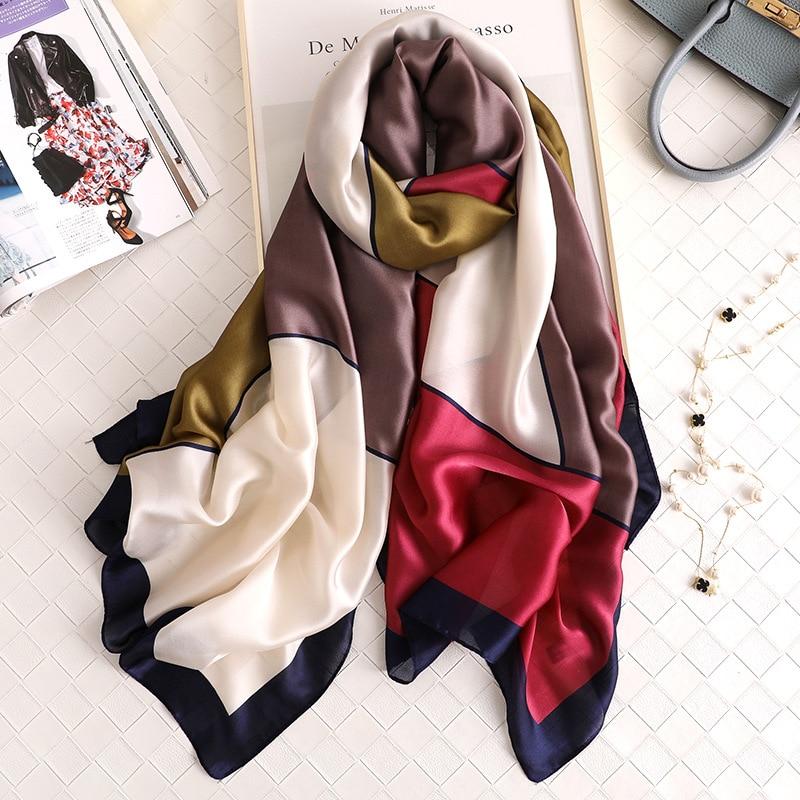 2019 Luxury Brand Women Scarf Summer Silk Scarves Shawls Lady Wraps Soft Pashimina Female Echarpe Designer Beach Stole Bandana