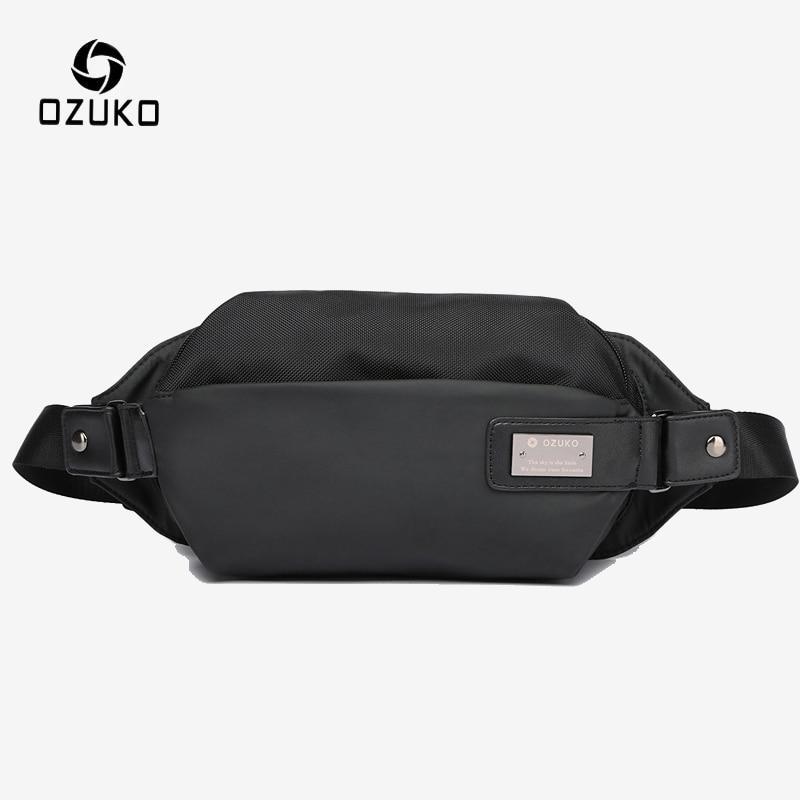 OZUKO Men's Outdoor Sport Waist Bag Men Waterproof Fanny Pack Bum Belt Bag Male Chest Shoulder Messenger Bags Mobile Phone Pouch