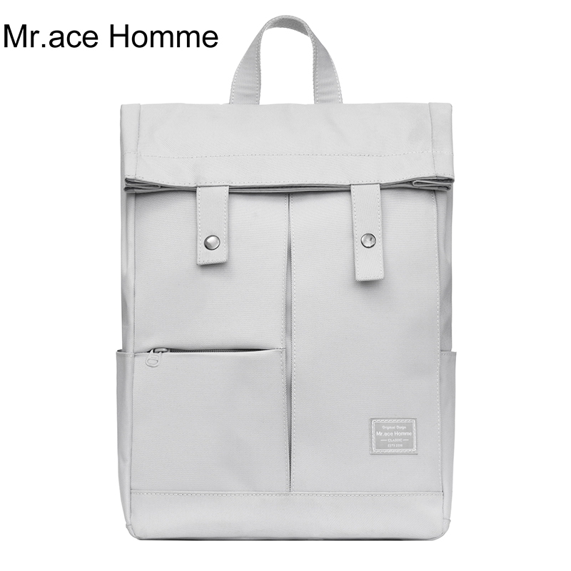 Gray College Laptop Backpack Women Waterproof Large Knapsack Men Unisex Computer Bag Boy School Backpack For Girl