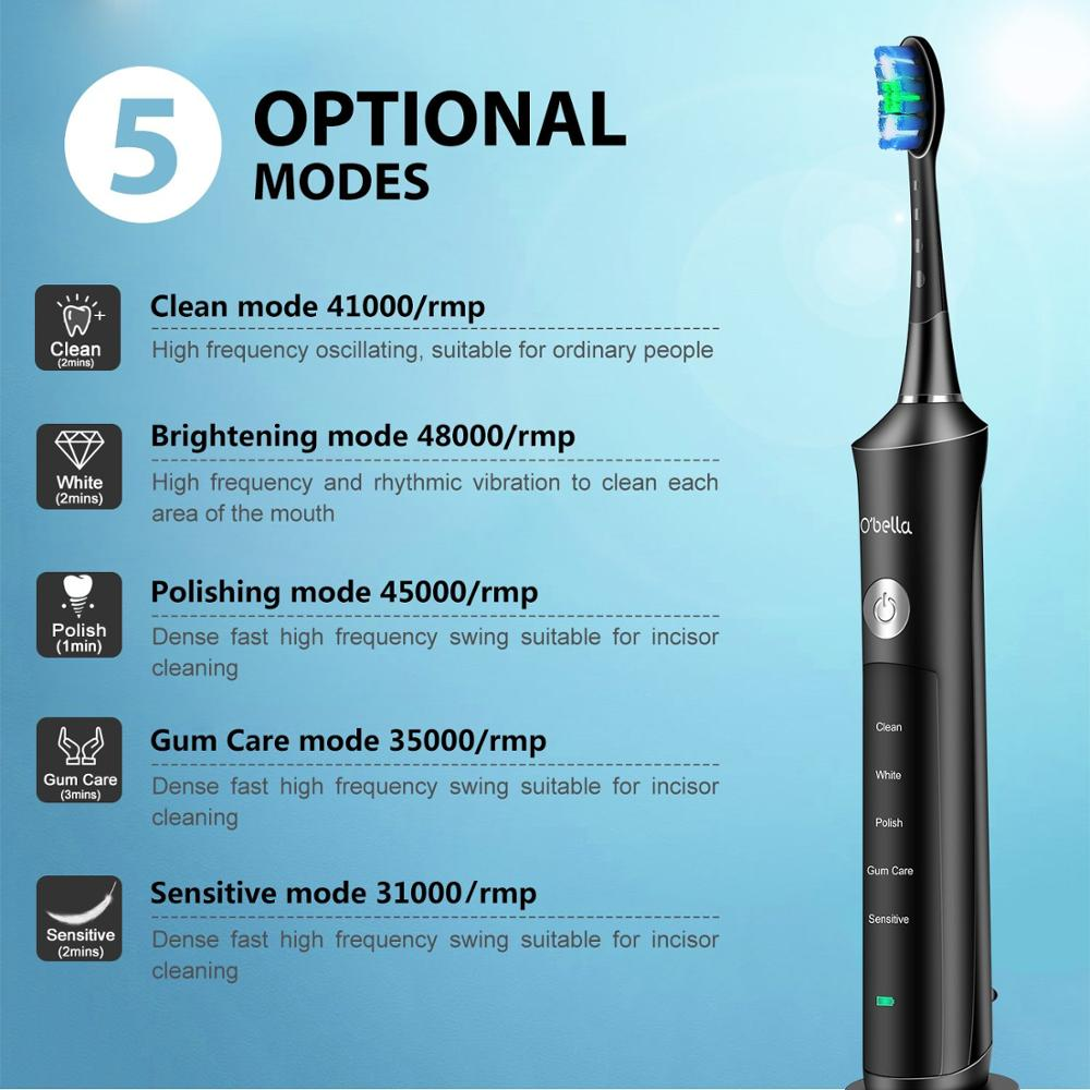 O'BELLA 071B Sonic Electric Toothbrush Rechargeable 48000RPM Rechargeable Oral Adult Tooth Brushes With 4 Pcs DuPont Replacement