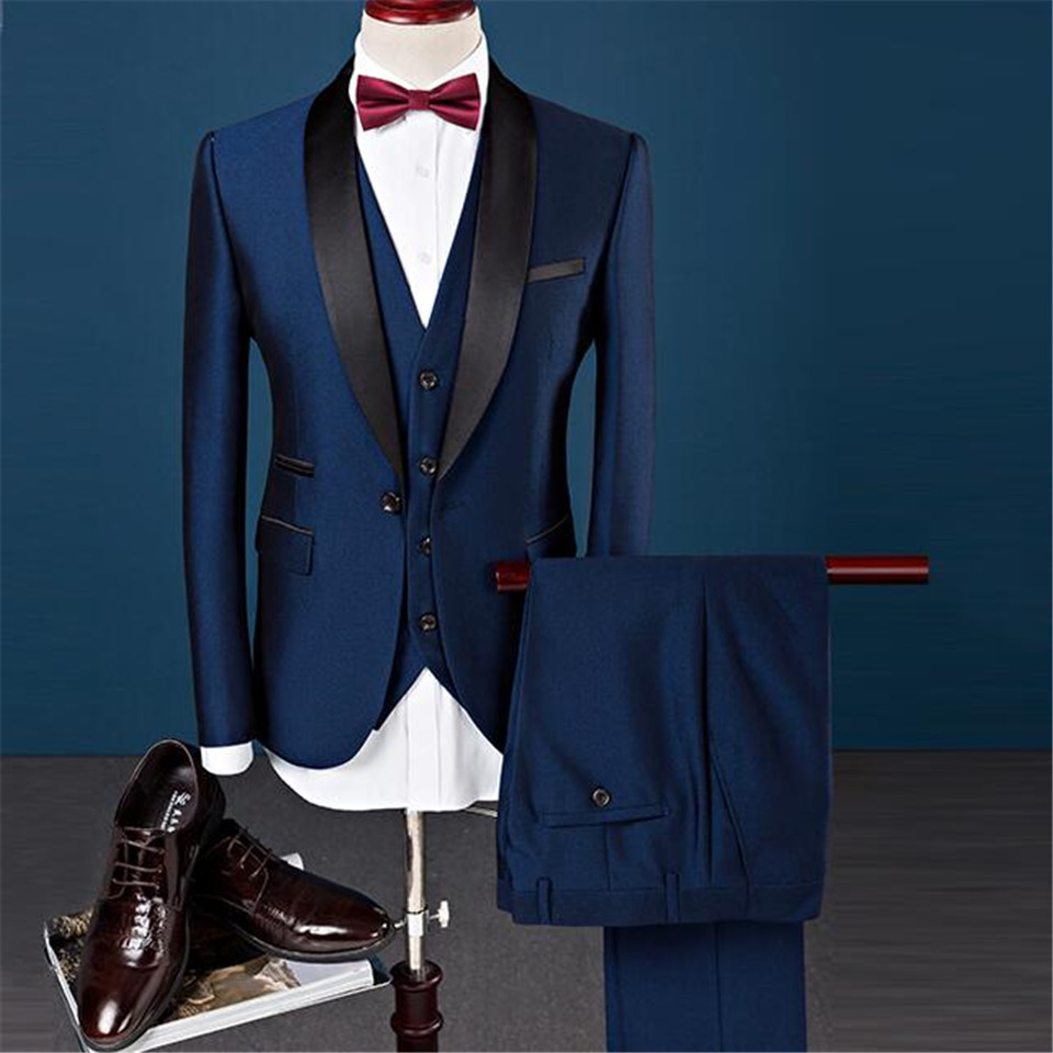 New Classic Men's Suit Smolking Noivo Terno Slim Fit Easculino Evening Suits For Men Single Breasted Tuxedos Groom Wedding Marri