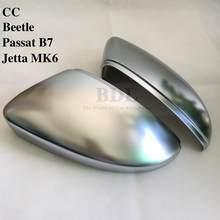 Bodenla mate chrome espelho capa de prata espelho retrovisor lateral para vw jetta 5 6 golf mk5 mk6 mk7 passat b7 b8 cc touran polo