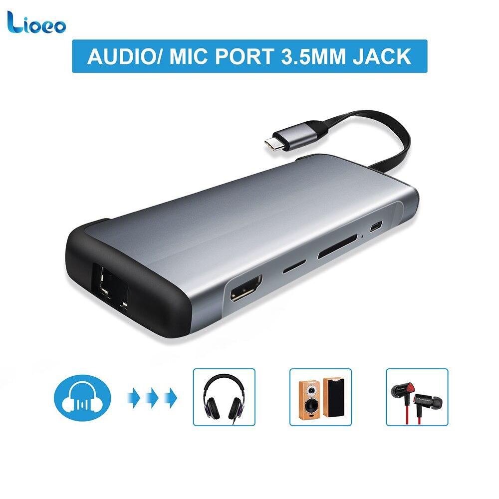 LIOEO Type C USB C 3.1 HUB vers RJ45 Gigabit Ethernet lecteur de carte SD/TF adaptateur HDMI avec 3.5mm Type Audio moyeu PD C pour Macbook