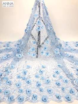 Sky Blue 3D Applique Lace Embroidered French Beaded Lace Fabric Tulle Lace 5 Yards African Net Lace For Lovely Party Gown 2019