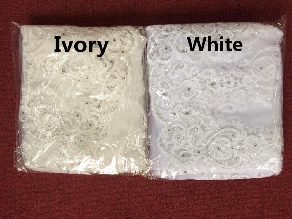 Une couche Tulle cathédrale mariage voile avec peigne dentelle bord strass 2020 mariée accessoires de mariée 3M de Long blanc ivoire - 6