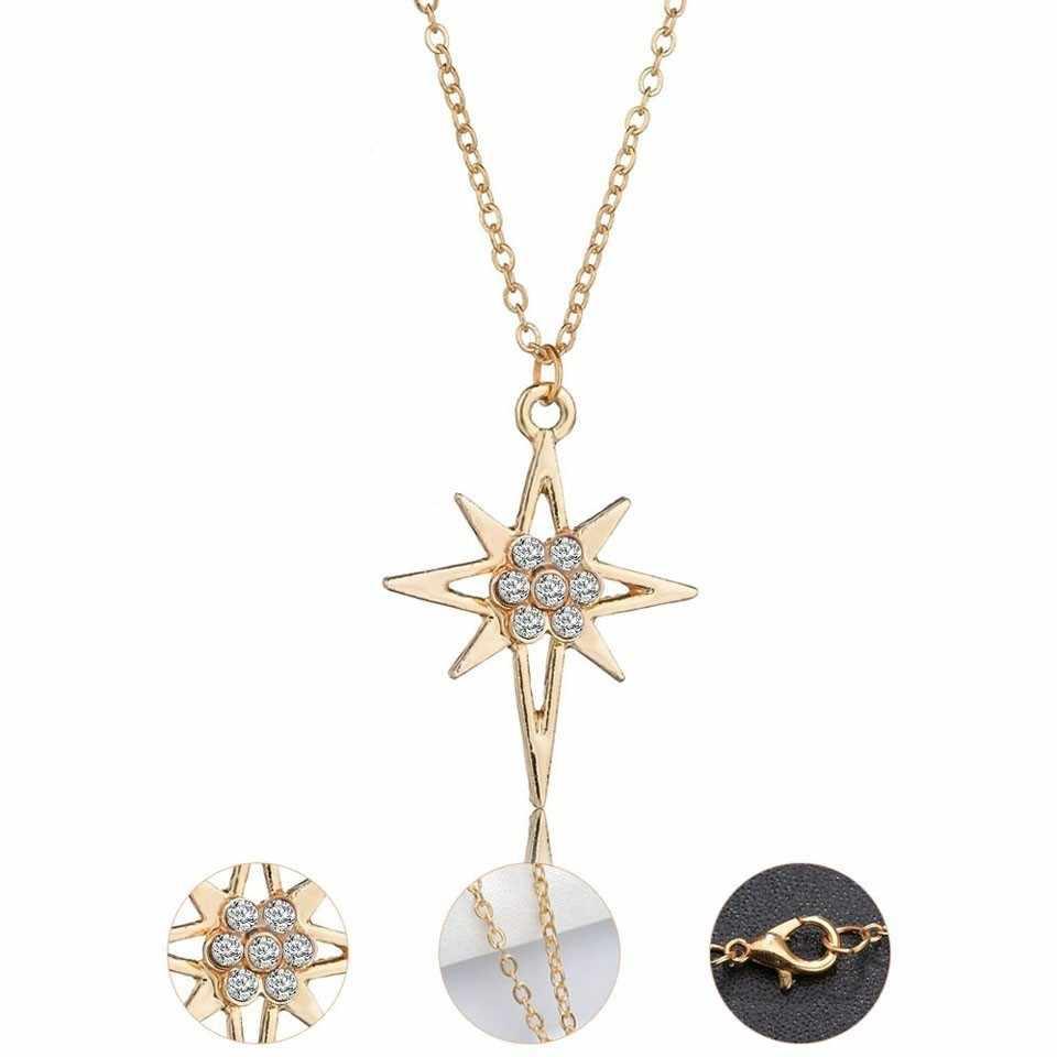YANGQI 3PCS Women Trendy Earrings&Necklace Sets Beautiful Star With Rhinestone Female Jewelry Women Wedding Jewelry Gold Chain