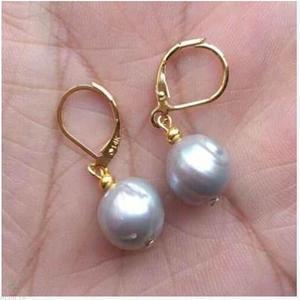 Enorme 11-12mm AAA Mar del Sur barroca gris perla pendiente 14k accesorios cultivados Earbob impecable moda Irregular Mesmerizing