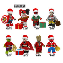 10Pcs Set Merry Christmas Harley Quinn Wolverine Deadpool Superma Tree Man Spider-man Spiderman Captain American Building Blocks